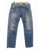 YANUK(ヤヌーク)の古着「カットオフデニムパンツ」|ブルー