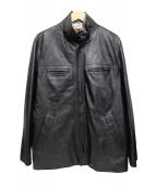 BALMAIN(バルマン)の古着「スタンドカラーレザーレイヤージャケット」|ブラック