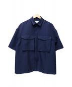 SUNNEI(スンネイ)の古着「ポリエステルギャバジンS/Sワークシャツ」|ネイビー