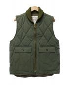 TROPHY CLOTHING(トロフィークロージング)の古着「ショールカラー中綿キルティングベスト」|グリーン
