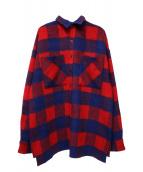 WHITELAND BLACKBURN(ホワイトランドブラックバーン)の古着「ウールシャツコート」|レッド×ブルー