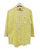 BURBERRY BLACK LABEL(バーバリーブラックレーベル)の古着「7分袖シャツ」|イエロー