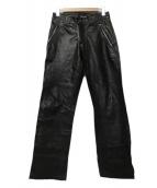 EMPORIO ARMANI(エンポリオアルマーニ)の古着「レザーパンツ」 ブラック