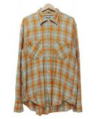 SUGAR CANE(シュガーケーン)の古着「チェックシャツ」|オレンジ×ネイビー