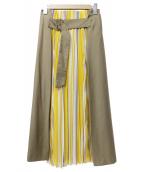 sophila(ソフィラ)の古着「プリーツストライプロングスカート」|ベージュ