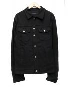 ODYN VOVK(オーディンブック)の古着「レザー切替コットンジャケット」|ブラック