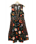 Kate Spade(ケイトスペード)の古着「ピクニック パーフェクトブロッサムフィット& フレア ドレス」|ブラック×オレンジ