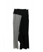FACETASM(ファセッタズム)の古着「裁断デザインウールパンツ」 グレー×ブラック