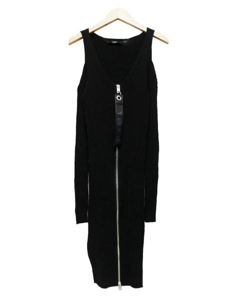 DIESEL(ディーゼル)DIESEL (ディーゼル) リブ ジップアップ ワンピース ブラック サイズ:Sの古着・服飾アイテム