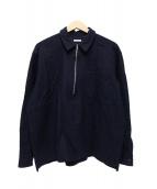 COMOLI(コモリ)の古着「ハーフジップウールシャツ」|ネイビー
