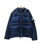 TENDERLOIN(テンダーロイン)の古着「ブランドロゴワッペン付きフード付きナイロン中綿ジャケット」|ネイビー