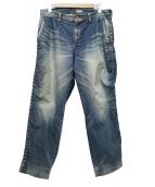 kolor/BEACON(カラービーコン)の古着「パッカリングデニムパンツ」|ブルー