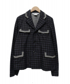 COMME des GARCONS(コムデギャルソン)の古着「千鳥柄テーラードジャケット」|ネイビー×ブラック