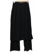 Noble(ノーブル)の古着「レイヤードニットスカートパンツ」|ブラック