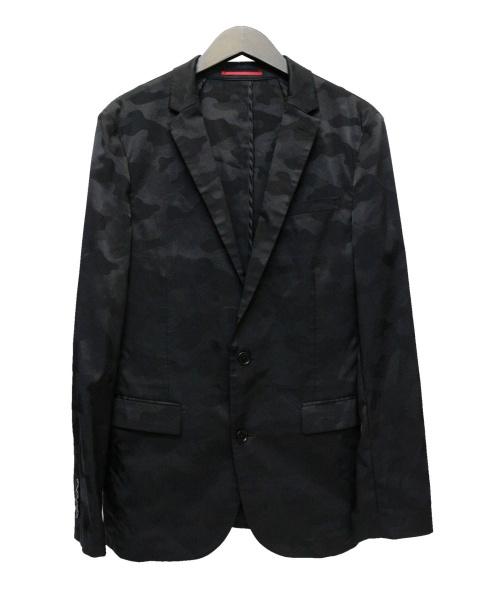 LOVELESS(ラブレス)LOVELESS (ラブレス) ジャガードカモストレッチジャケット ブラック サイズ:3の古着・服飾アイテム