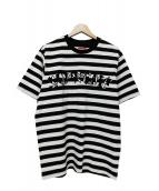 Supreme(シュプリーム)の古着「Stripe Applique S/S Top」|ホワイト×ブラック