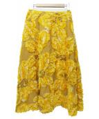 ELENDEEK(エレンディーク)の古着「FLOWER JACQUARD SKIRT」|イエロー
