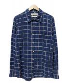 REMI RELIEF(レミレリーフ)の古着「インディゴ染チェックシャツ」|インディゴ