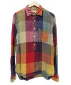 REMI RELIEF(レミレリーフ)の古着「プルオーバークレイジーリネンシャツ」|マルチカラー