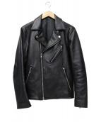 LIDnM(リドム)の古着「シングルライダースジャケット」 ブラック