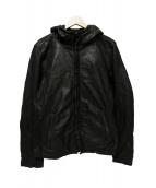 Amphibian(アンフィビアン)の古着「フーデッドレザージャケット」|ブラック