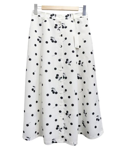 IENA(イエナ)IENA (イエナ) seseチェリー柄フレアースカート ホワイト×ブラック サイズ:38 未使用品の古着・服飾アイテム