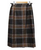 ONEIL OF DUBLIN(オニール オブ ダブリン)の古着「ウールプリーツ巻きスカート」|ブラウン