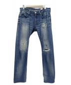 YANUK(ヤヌーク)の古着「クサッシュスリムストレートデニムパンツ」 ブルー