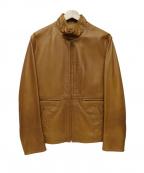 BEAMS F(ビームスエフ)の古着「スタンドカラーレザージャケット」|キャメル