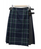 ONEIL OF DUBLIN(オニール オブ ダブリン)の古着「巻きプリーツスカート」|ネイビー