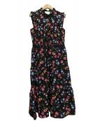 Kate Spade(ケイトスペード)の古着「メドウ スモック ウェスト ドレス」|ブラック