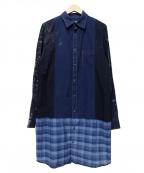 cotemer(コートメル)の古着「加工ロングシャツ」 ネイビー