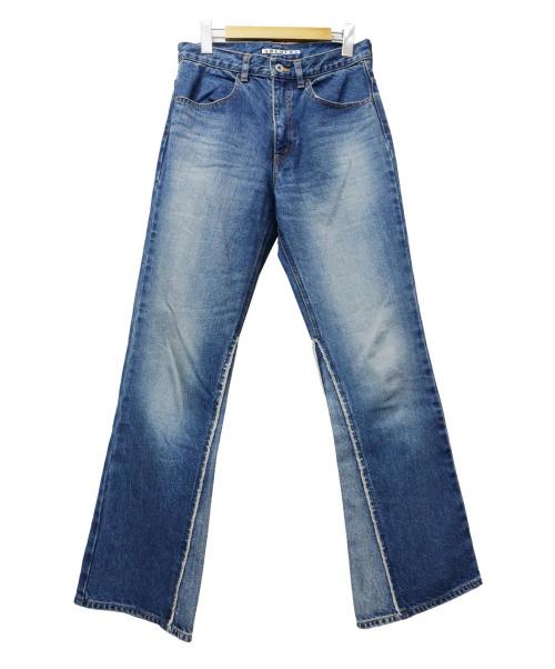 SHENERY(シーナリー)SHENERY (シーナリー) 裾切替フレアデニムパンツ ブルー サイズ:38の古着・服飾アイテム