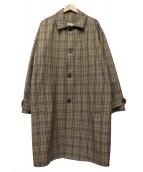 KINDAGARDEN(カインダガーデン)の古着「BEIGE CHECK COAT」|ブラウン