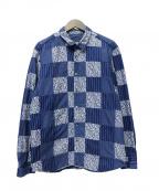 SOPH.(ソフ)の古着「インディゴパッチワークシャツ」|ブルー