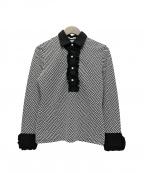 NARA CAMICIE(ナラカミーチェ)の古着「イタリアンジャージージャカード柄シャツ」 ブラック×ホワイト