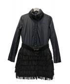 EMPORIO ARMANI(エンポリオアルマーニ)の古着「フリンジダウンコート」|ブラック