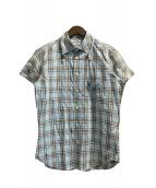Vivienne Westwood(ヴィヴィアンウエストウッド)の古着「ビッグカラーオーブチェックシャツ」 スカイブルー