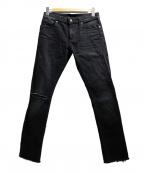 Saint Laurent Paris(サンローランパリ)の古着「ニークラッシュデニムパンツ」 ブラック