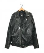 Denham(デンハム)の古着「ダブルライダースジャケット」 ブラック