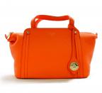 PELLE MORBIDA(ペッレモルビダ)の古着「レザーハンドバッグ」 オレンジ