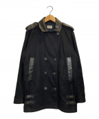 DIESEL(ディーゼル)の古着「レザー切替Pコート」 ブラック