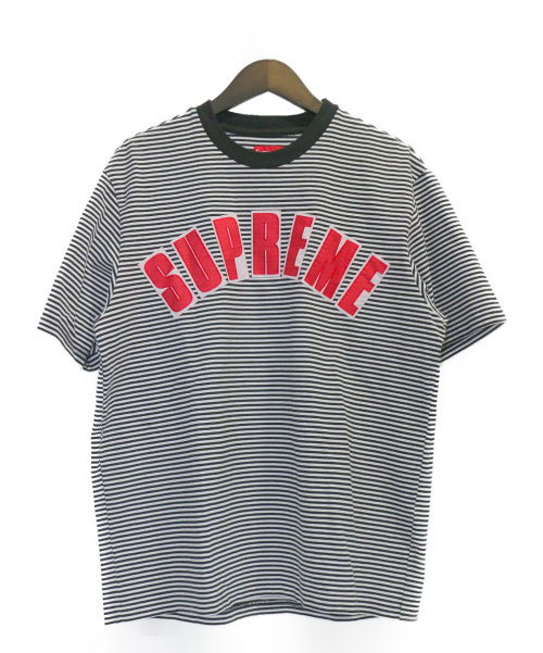 SUPREME(シュプリーム)SUPREME (シュプリーム) Arc Applique S/S Top ホワイト×ブラック サイズ:Sの古着・服飾アイテム