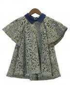 REKISAMI(レキサミ)の古着「襟付きレースフレアブラウス」|グリーン