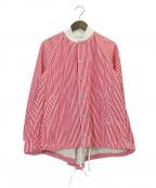 COMME des GARCONS GIRL(コムデギャルソン ガール)の古着「フィッシュテールストライプスナップジャケット」|レッド
