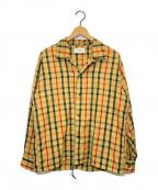 MARKAWARE(マーカウェア)の古着「チェックオープンカラーシャツ」|ブラウン