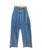 MILK FED.()の古着「LOGO BELT WIDE LEG PANTS」|ブルー