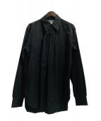 ()の古着「Neck Pleats Cotton Shirt」|ブラック