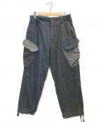 ROYAL NAVY(ロイヤルネイビー)の古着「パターン切替カーゴパンツ」|ブラック×ネイビー