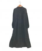 Conges payes(コンジェ ペイエ)の古着「リネンスタンドフリルカラーワンピース」|ブラック